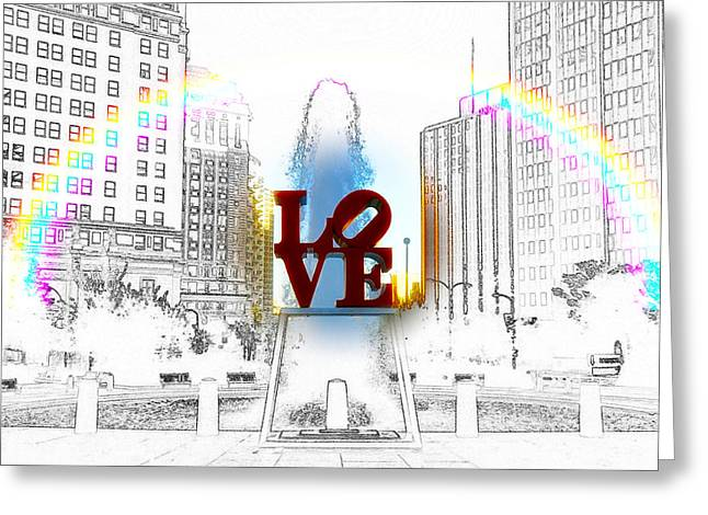 John F. Kennedy Plaza Greeting Cards - Love Greeting Card by Bill Cannon
