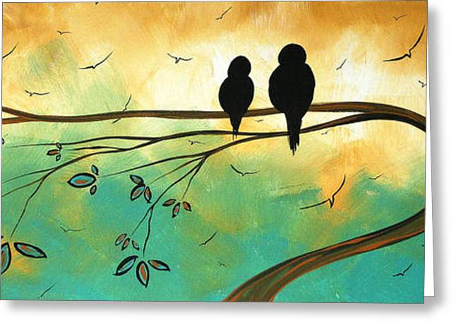 Silhouette Art Greeting Cards - Love Birds by MADART Greeting Card by Megan Duncanson