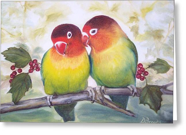 Recently Sold -  - Berry Greeting Cards - Love Birds Greeting Card by Dorothy Brooks