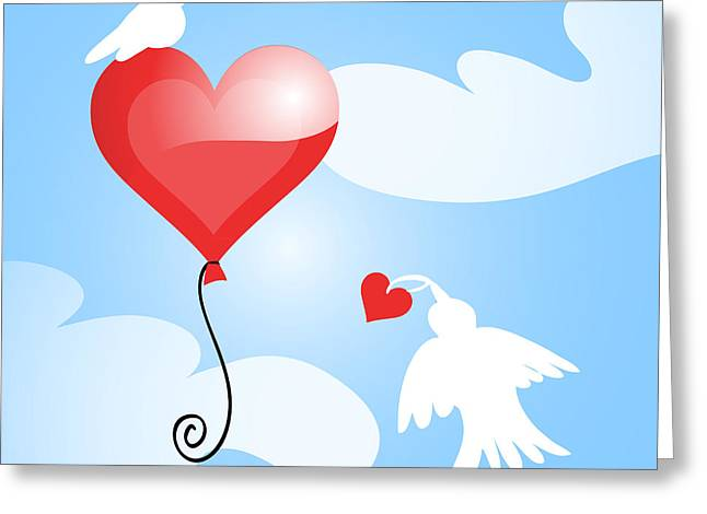 Sky Lovers Greeting Cards - Love Birds Greeting Card by HD Connelly