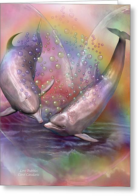 Dolphin Greeting Cards - Love Bubbles Greeting Card by Carol Cavalaris