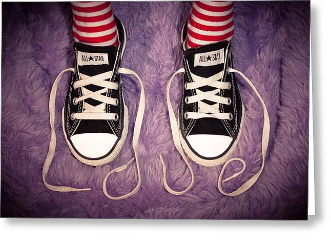 White Sneakers Greeting Cards - Love Greeting Card by David Forester