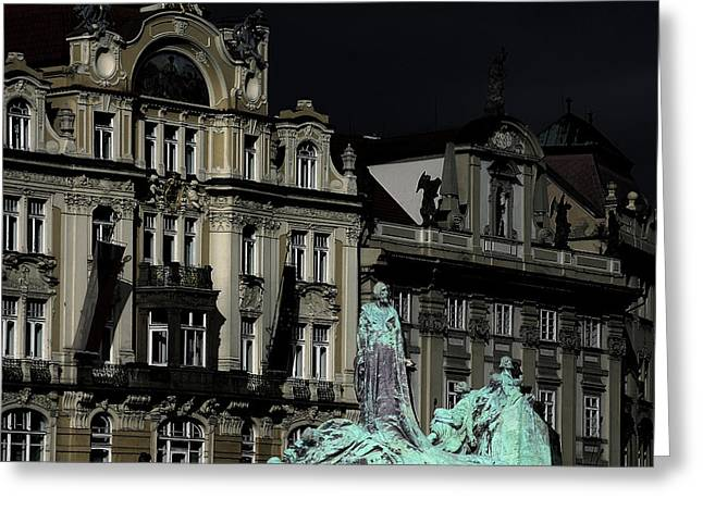 European Cities Greeting Cards - Love each other and wish the truth to everyone - Jan Hus Prague Greeting Card by Christine Till