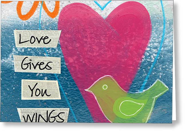 Green Abstract Greeting Cards - Love Gives You Wings Greeting Card by Linda Woods
