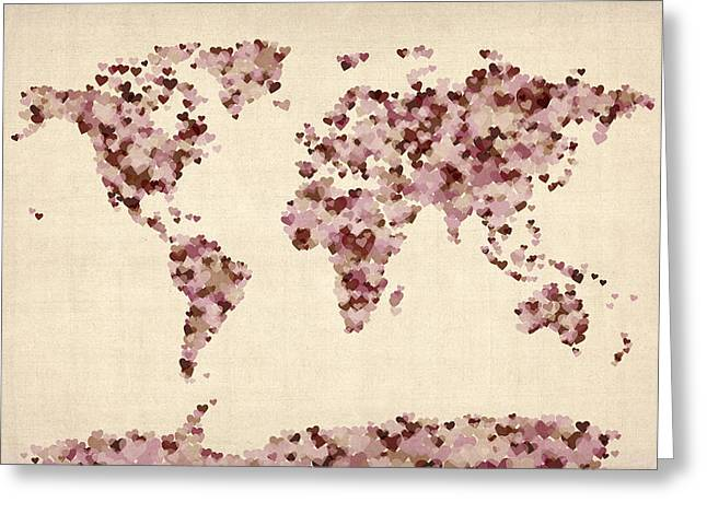 Abstract World Greeting Cards - Love Hearts Map of the World Map Greeting Card by Michael Tompsett