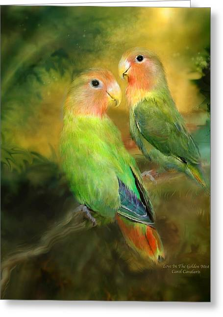 Parrot Art Print Greeting Cards - Love In The Golden Mist Greeting Card by Carol Cavalaris
