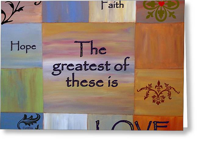 Patch Work Greeting Cards - Love is Everything Greeting Card by Cynthia Amaral
