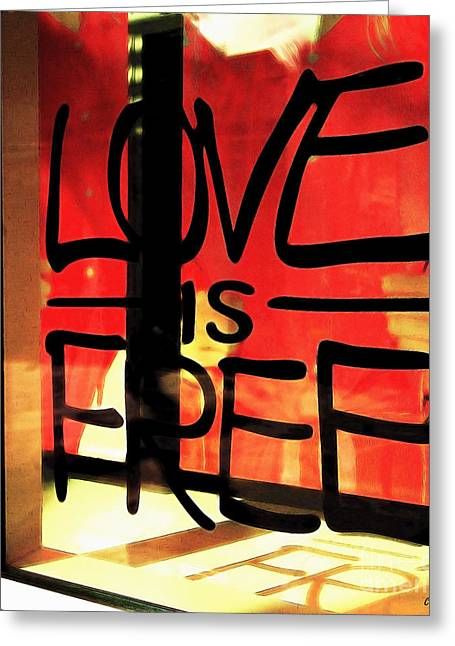 Love Is Free Greeting Card by Cheryl Young