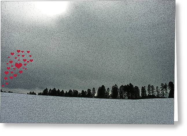Snowy Day Digital Greeting Cards - Love is in the Air Greeting Card by Bonnie Bruno