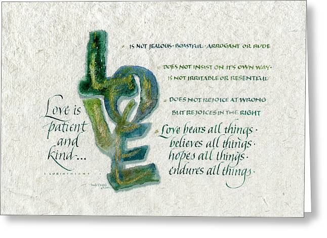Scripture Greeting Cards - Love is  Greeting Card by Judy Dodds