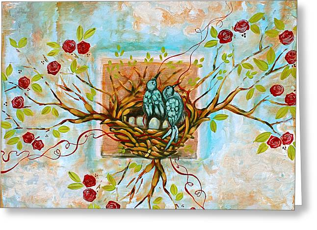 Nest Greeting Cards - Love Is The Red Thread Greeting Card by Shiloh Sophia McCloud