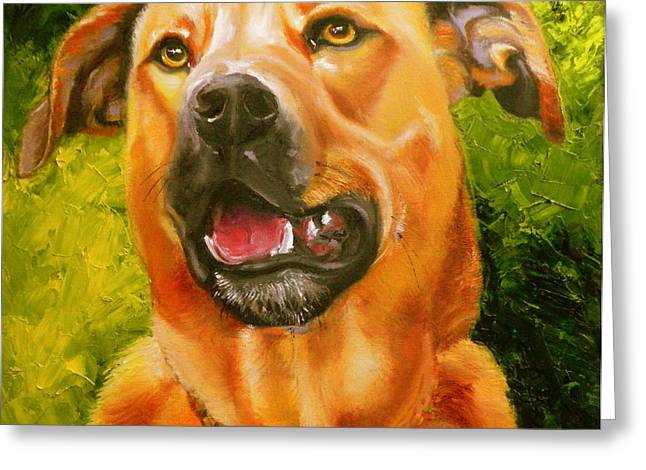 Dog Prints Greeting Cards - Love Love Me Do Greeting Card by Susan A Becker