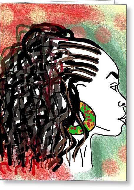 Side Braid Greeting Cards - Love my curls Greeting Card by Kudzai Max
