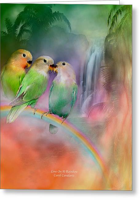 Parrot Art Greeting Cards - Love On A Rainbow Greeting Card by Carol Cavalaris