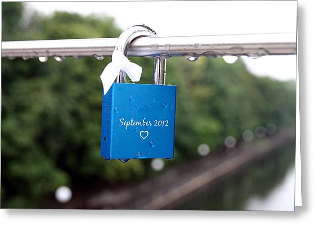 Closing Greeting Cards - Love Padlock Greeting Card by Valentino Visentini