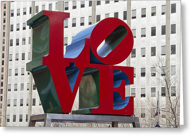 """robert Indiana"" Greeting Cards - Love Park in Center City - Philadelphia Greeting Card by Brendan Reals"