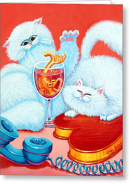 Red Cat Wine Greeting Cards - Love Puffs Greeting Card by Baron Dixon
