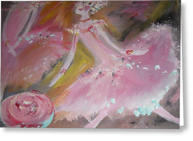 Dance Ballet Roses Paintings Greeting Cards - Love Rose ballet duet Greeting Card by Judith Desrosiers