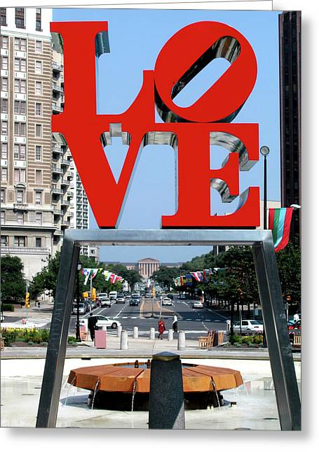 Red Art Sculptures Greeting Cards - Love sculpture in Philadelphia Greeting Card by Carl Purcell