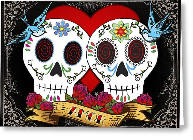 Dia De Los Muertos Art Greeting Cards - Love Skulls II Greeting Card by Tammy Wetzel