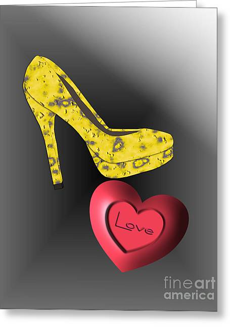 Footwear Love Greeting Cards - Love Stiletto Greeting Card by Mira Dimitrijevic
