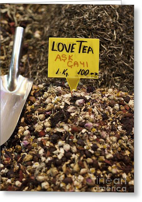 Leslie Leda Greeting Cards - Love Tea Greeting Card by Leslie Leda