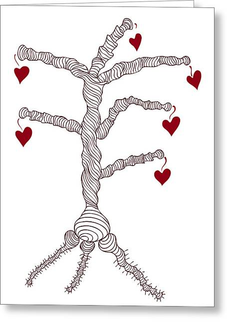 Valentines Day Drawings Greeting Cards - Love tree Greeting Card by Frank Tschakert