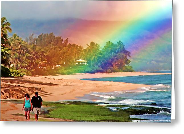 Laniakea Beach Greeting Cards - Love Under the Rainbow Greeting Card by Joel Lau