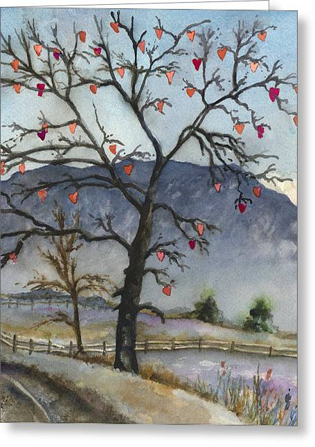 Bare Trees Greeting Cards - Love Warms Even the Coldest Day Greeting Card by Anne Gifford