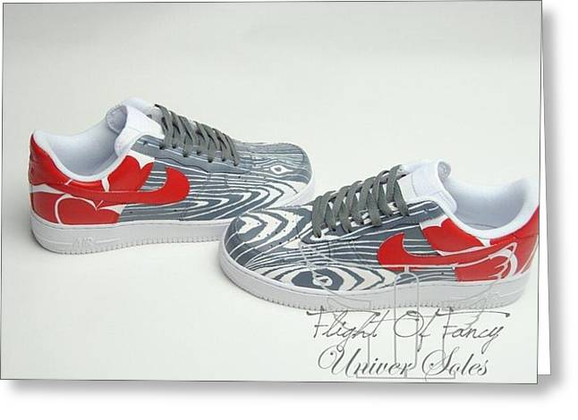 Sneaker Love Greeting Cards - Love Woods Custom Air Force Ones Greeting Card by Joseph Boyd