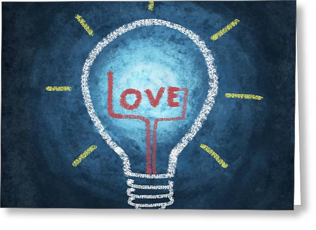 Lessons Greeting Cards - Love Word In Light Bulb Greeting Card by Setsiri Silapasuwanchai