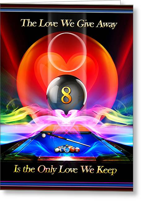 8ball Greeting Cards - LoveAway Greeting Card by Draw Shots