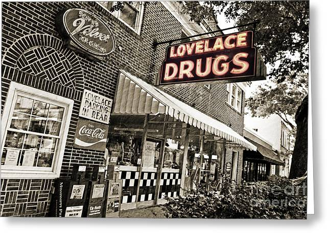 Drug Stores Greeting Cards - Lovelace Drugs Greeting Card by Scott Pellegrin