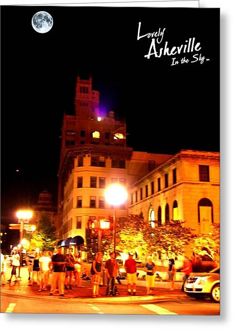 First-lady Digital Art Greeting Cards - Lovely Asheville Night Downtown Greeting Card by Ray Mapp