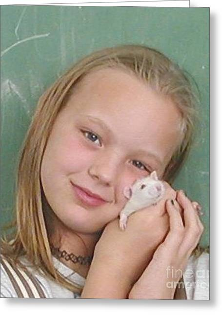 Gerbil Greeting Cards - Lovely Girl with Pet Greeting Card by Renee Trenholm