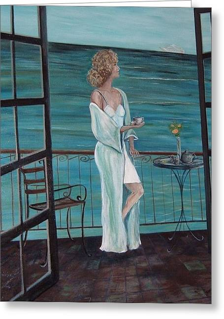 French Doors Greeting Cards - Lovely lady in the Moment Greeting Card by Julie Cranfill