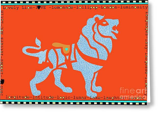 Lovely lion juvenile licensing art Greeting Card by ArtyZen Kids