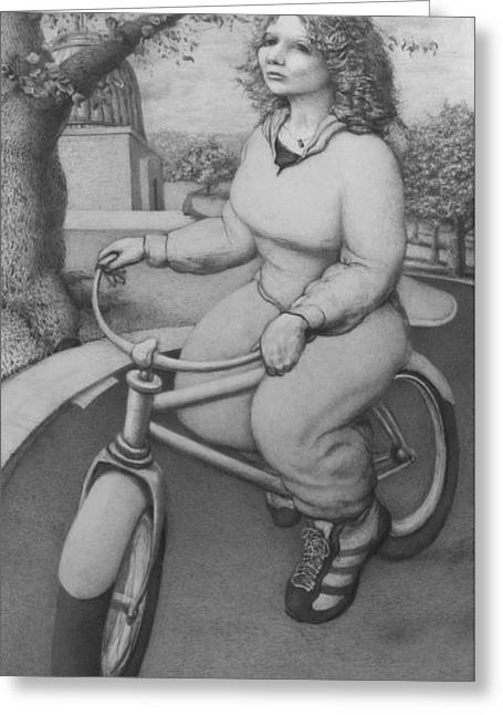 Surreal Landscape Drawings Greeting Cards - Lovely Little Plump Lady Greeting Card by Louis Gleason