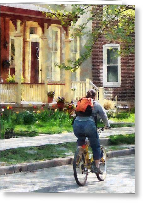 Biking Greeting Cards - Lovely Spring Day for a Ride Greeting Card by Susan Savad