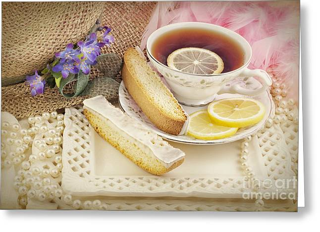 Biscotti Greeting Cards - Lovely Tea Party Greeting Card by Cheryl Davis