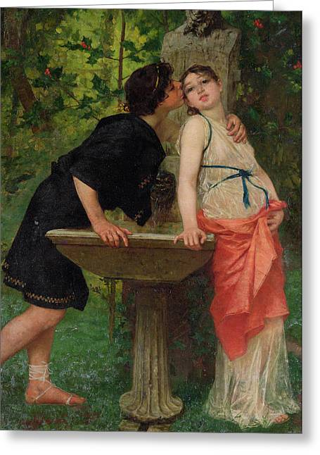 A Kiss Greeting Cards - Lovers by a Fountain Greeting Card by Modesto Faustini