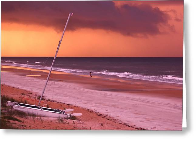 Yellow Sailboats Greeting Cards - Lovers Embrace on the Shoreline Greeting Card by DigiArt Diaries by Vicky B Fuller