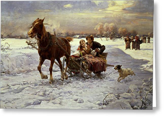 Dog Greeting Cards Greeting Cards - Lovers in a sleigh Greeting Card by Alfred von Wierusz Kowalski
