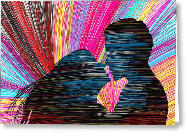 Kenal Louis Greeting Cards - Lovers In Colour No.1 Greeting Card by Kenal Louis