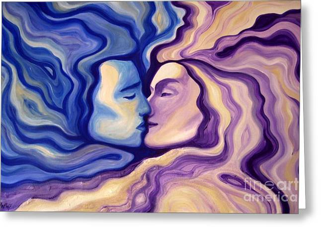 Face Greeting Cards - Lovers in Eternal Kiss Greeting Card by Jindra Noewi