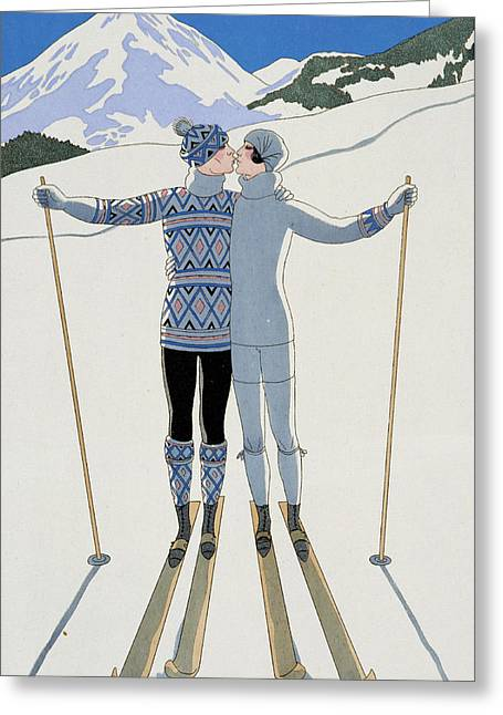 Couple Kissing Greeting Cards - Lovers in the Snow Greeting Card by Georges Barbier