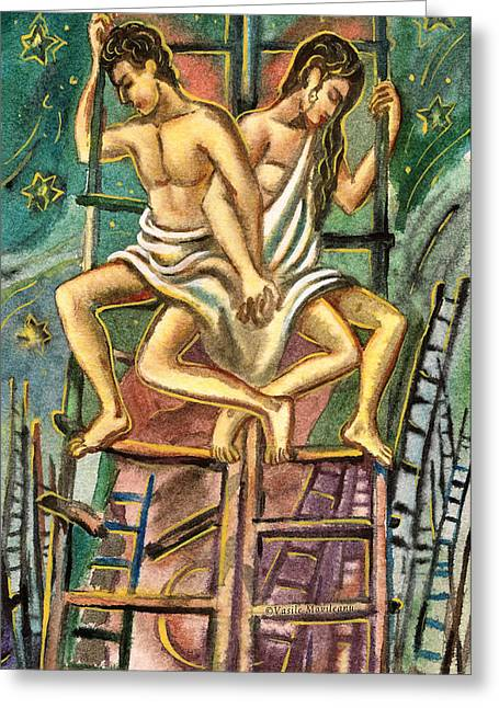 Lovers On Stairs Greeting Card by Vasile Movileanu