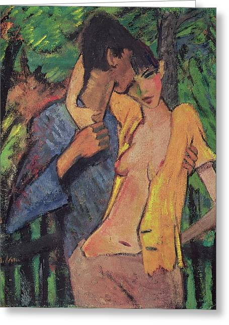 Woman Of The Forest Greeting Cards - Lovers Greeting Card by Otto Muller