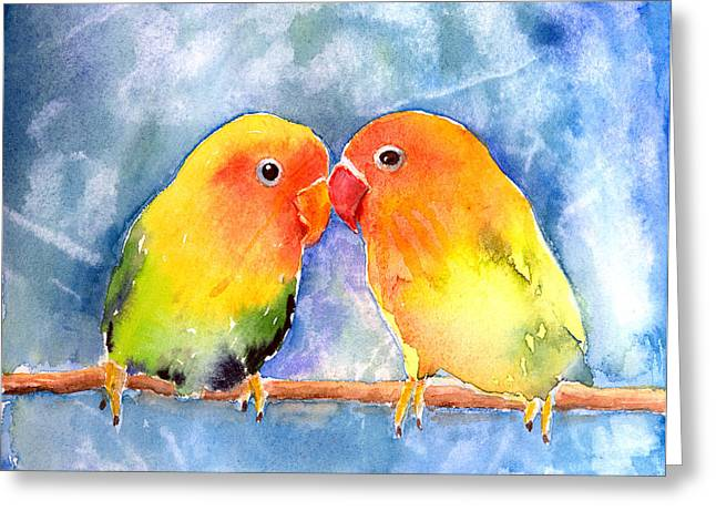 Animals Love Greeting Cards - Lovey Dovey Lovebirds Greeting Card by Arline Wagner
