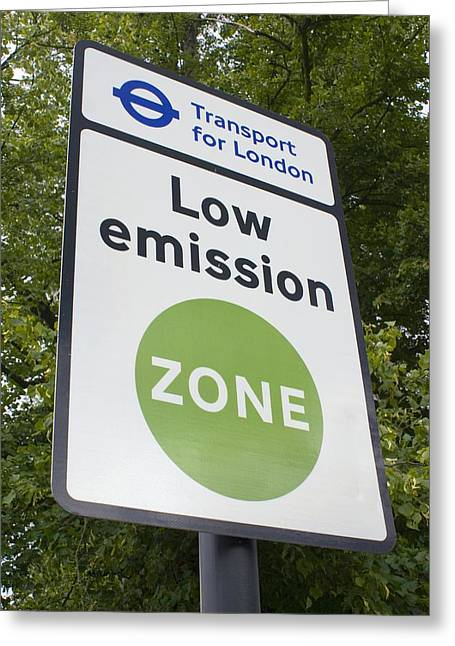 Carbon Dioxide Greeting Cards - Low Emission Zone Sign In Essex, Uk. Greeting Card by Mark Williamson